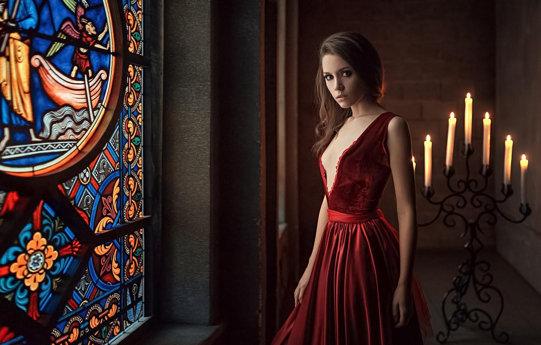 Photo wallpaper Girl, Look, Candles, Dress, Red, Beautiful, Kseniya Kokoreva