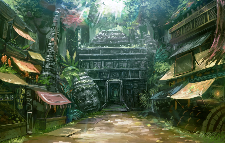 Photo wallpaper home, head, jungle, temple, market, entrance, street, market, deity, Lu Jian