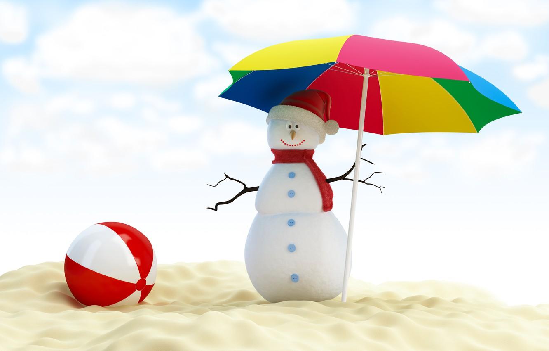 Photo wallpaper umbrella, new year, snowman, new year, umbrella, merry christmas, snowman, beach ball, merry Christmas, beach …
