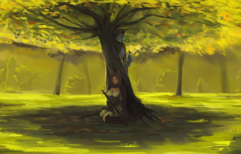 Photo wallpaper girl, landscape, nature, weapons, tree, bird, sword, anime, warrior, art, two