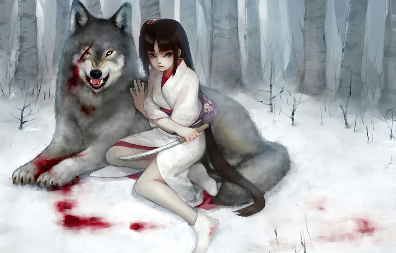 Photo wallpaper forest, girl, snow, blood, wolf, dagger, kimono, scar, wound, fukawa