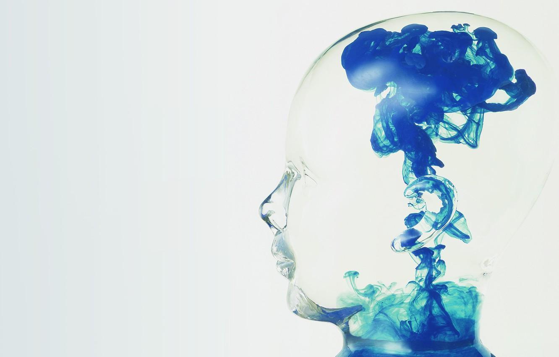 Photo wallpaper glass, blue, smoke, Head