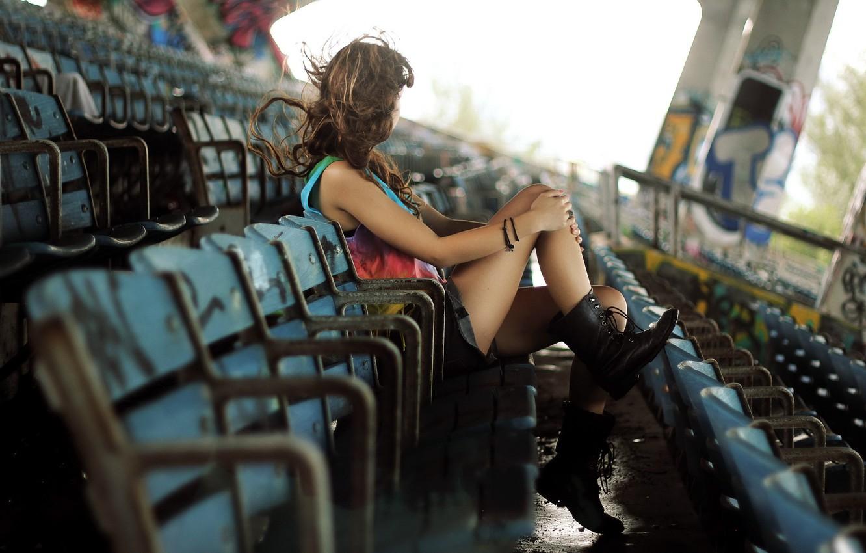 Photo wallpaper girl, mood, stadium