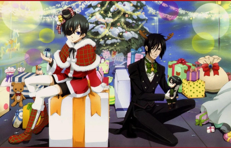 Photo wallpaper decoration, toys, New Year, gifts, fur, carousel, tree, bags, eye patch, Dark Butler, Kuroshitsuji, Sebastian …