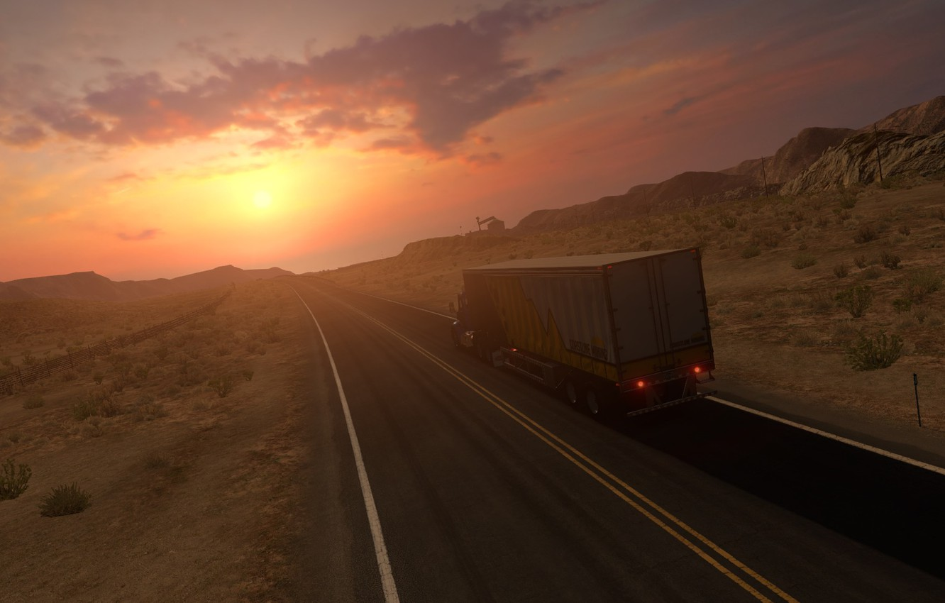Photo wallpaper American Truck Simulator, Peterbilt 579, Nevada Desert