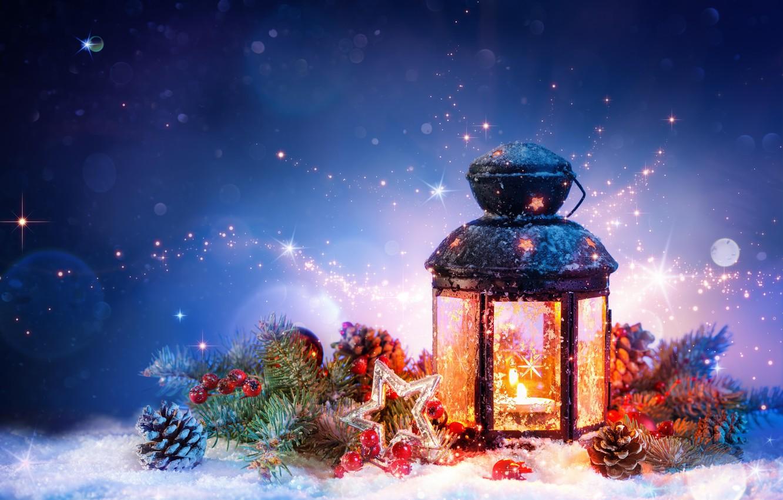 Photo wallpaper snow, decoration, Christmas, lantern, New year, tinsel, bumps
