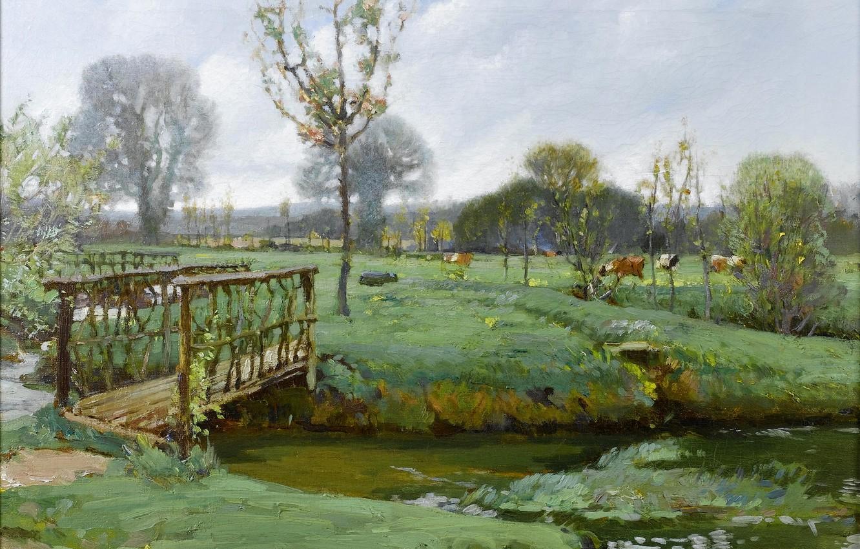 Photo wallpaper the sky, grass, clouds, landscape, river, stream, picture, cows, meadow, the bridge, Samuel Birch, Landscape …