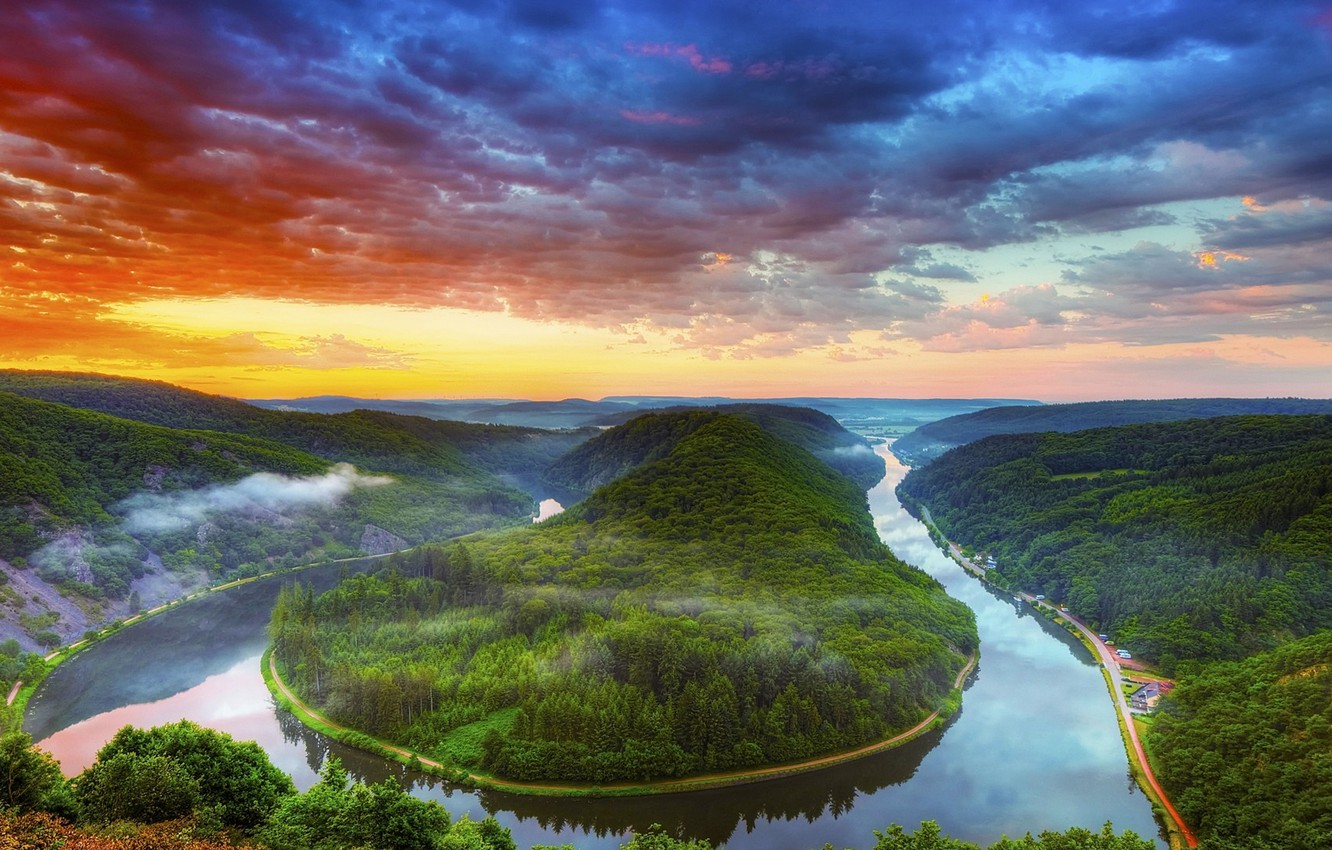 Photo wallpaper forest, clouds, landscapes, Trees, photos, sunsets, River, HDR photography