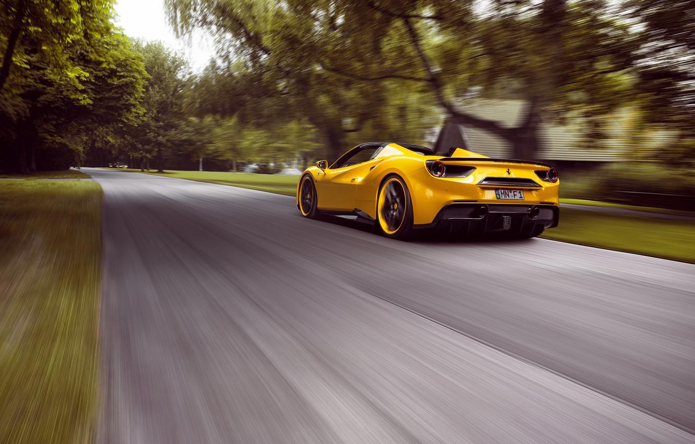 Photo wallpaper road, speed, Ferrari, supercar, Ferrari, road, speed, Spider, Rosso, Novitec, 488