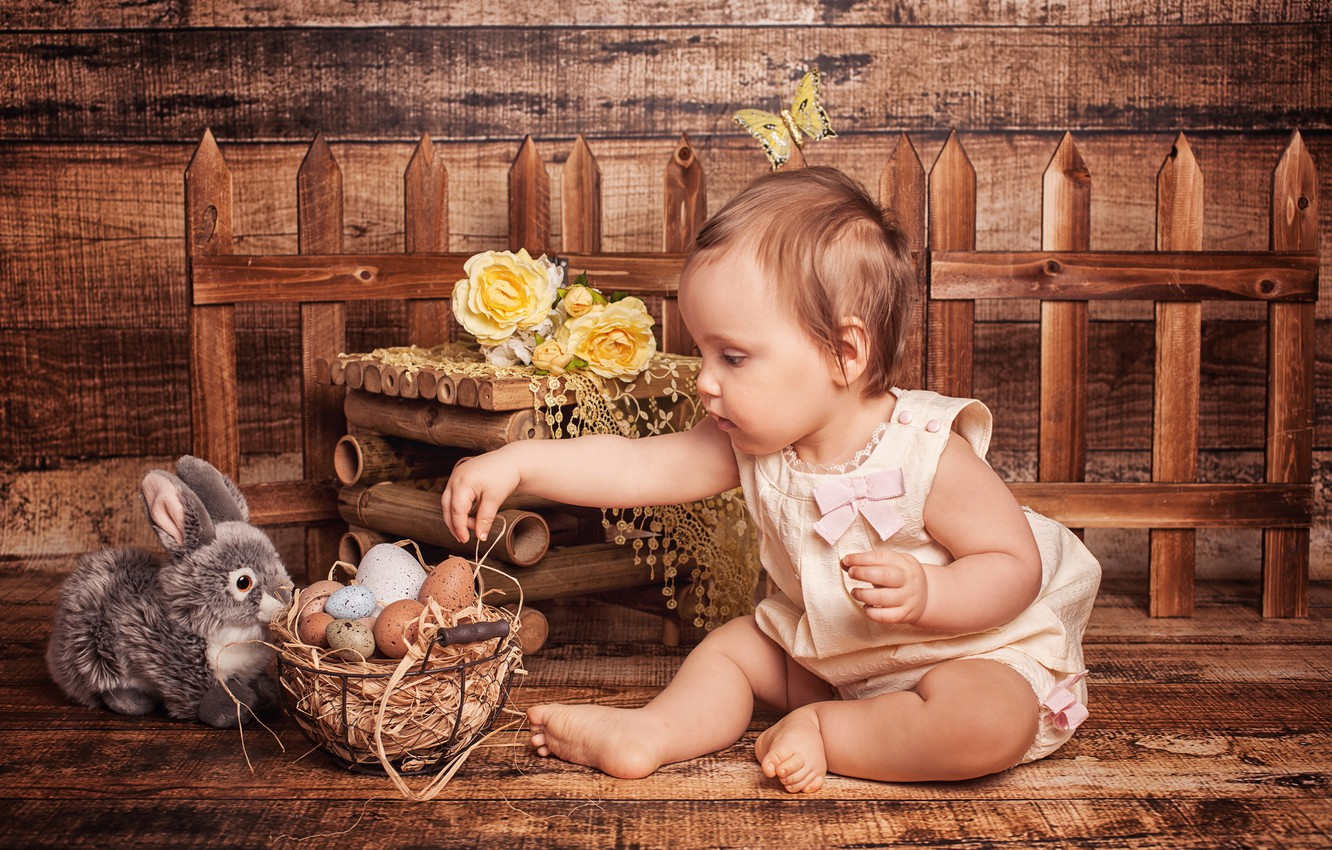 Photo wallpaper flowers, holiday, basket, toy, Board, the fence, roses, eggs, rabbit, Easter, girl, child