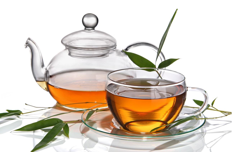 Photo wallpaper leaves, tea, Cup, drink, saucer, teapot