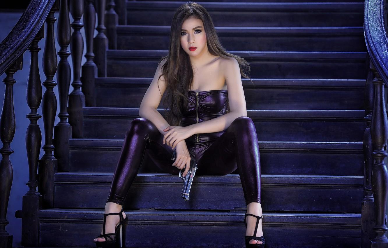 Photo wallpaper girl, gun, background