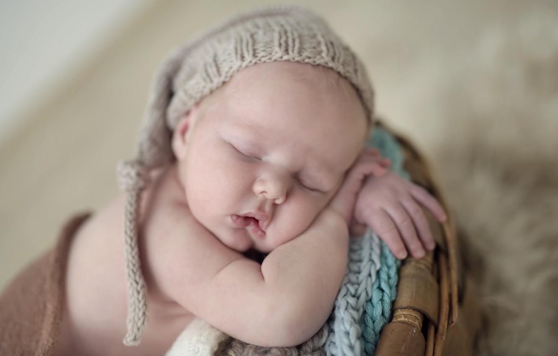 Photo wallpaper calm, child, sleep, baby, cap, baby