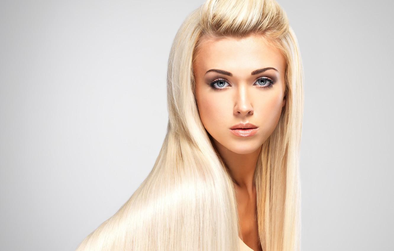 Photo wallpaper eyes, look, girl, face, background, model, hair, makeup, blonde, lips, long