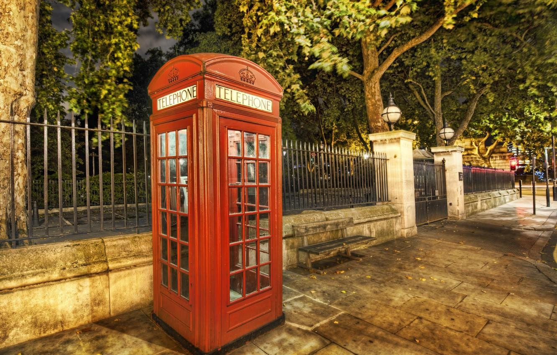 Photo wallpaper summer, street, London, phone, booth