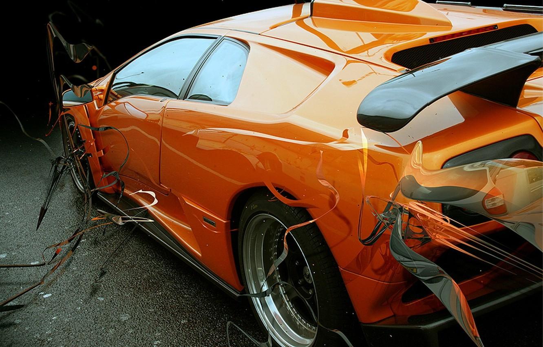 Photo wallpaper orange, Lambo, hard