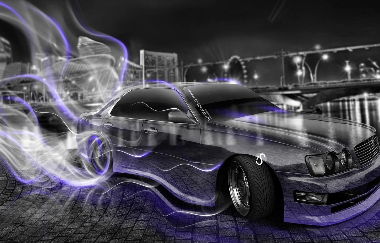 Photo wallpaper Night, The city, Smoke, Neon, Style, Nissan, Wallpaper, City, Drift, Nissan, Drift, Car, Purple, Photoshop, …