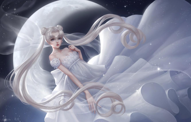 Photo wallpaper girl, the moon, dress, princess serenity, tsukino usagi, Bishoujo senshi sailor moon, beauty warrior sailor …