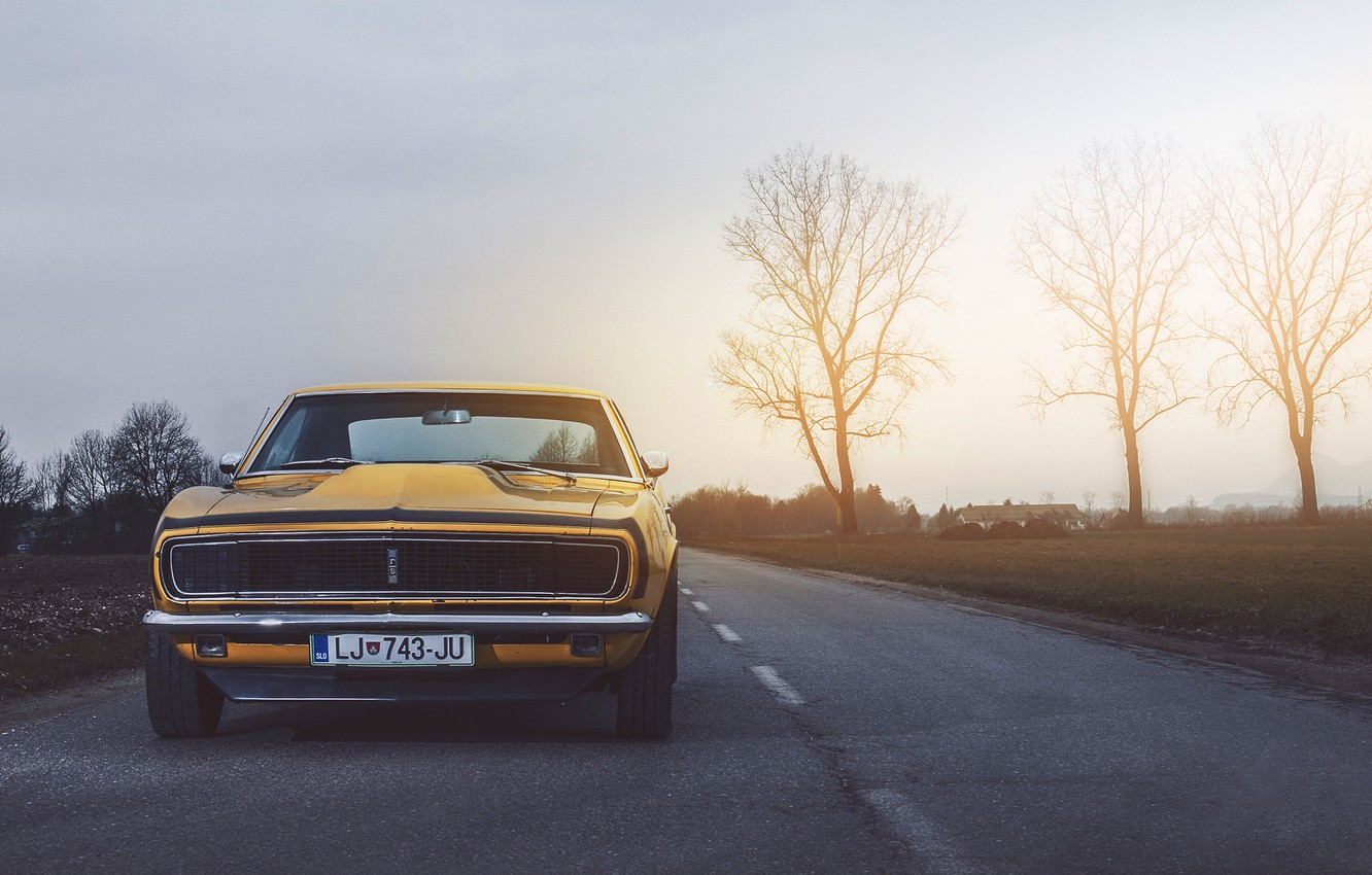 Photo wallpaper Chevrolet, Muscle, Camaro, USA, Car, Power, Front, Sun, Yellow, 1968, Oldy