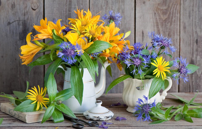 Photo wallpaper Lily, bouquet, book, scissors, cornflowers