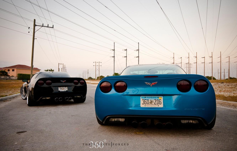 Photo wallpaper corvette, black, chevrolet, blue
