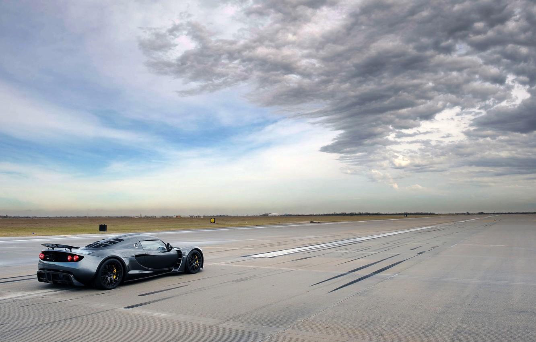 Photo wallpaper The sky, Clouds, Auto, Hennessey, Venom, Sports car, Runway