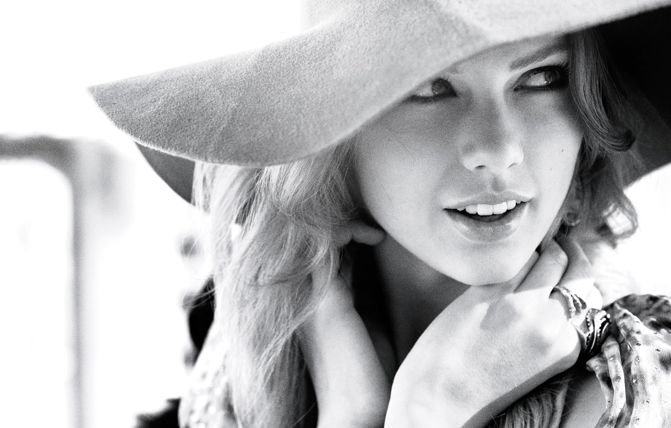 Photo wallpaper face, photo, hat, black and white, singer, Taylor Swift, Taylor Swift, InStyle, Regan Cameron