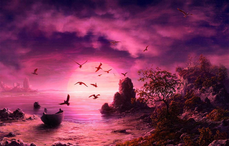 Photo wallpaper sea, sunset, seagulls