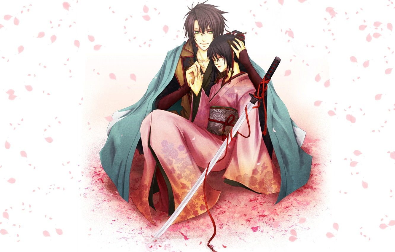 Photo wallpaper girl, katana, petals, Sakura, form, guy, kimono, red ribbon, Sōji Okita, Hakuouki, Tidzuru Yukimura, Demons …