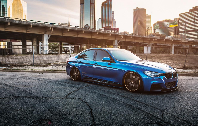 Photo wallpaper BMW, BMW, blue, 335i, stance, f30, frontside