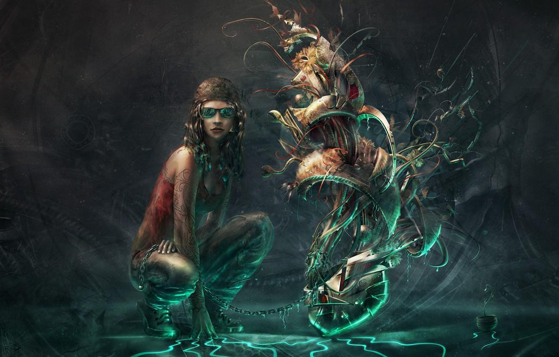 Photo wallpaper girl, plant, something, chain
