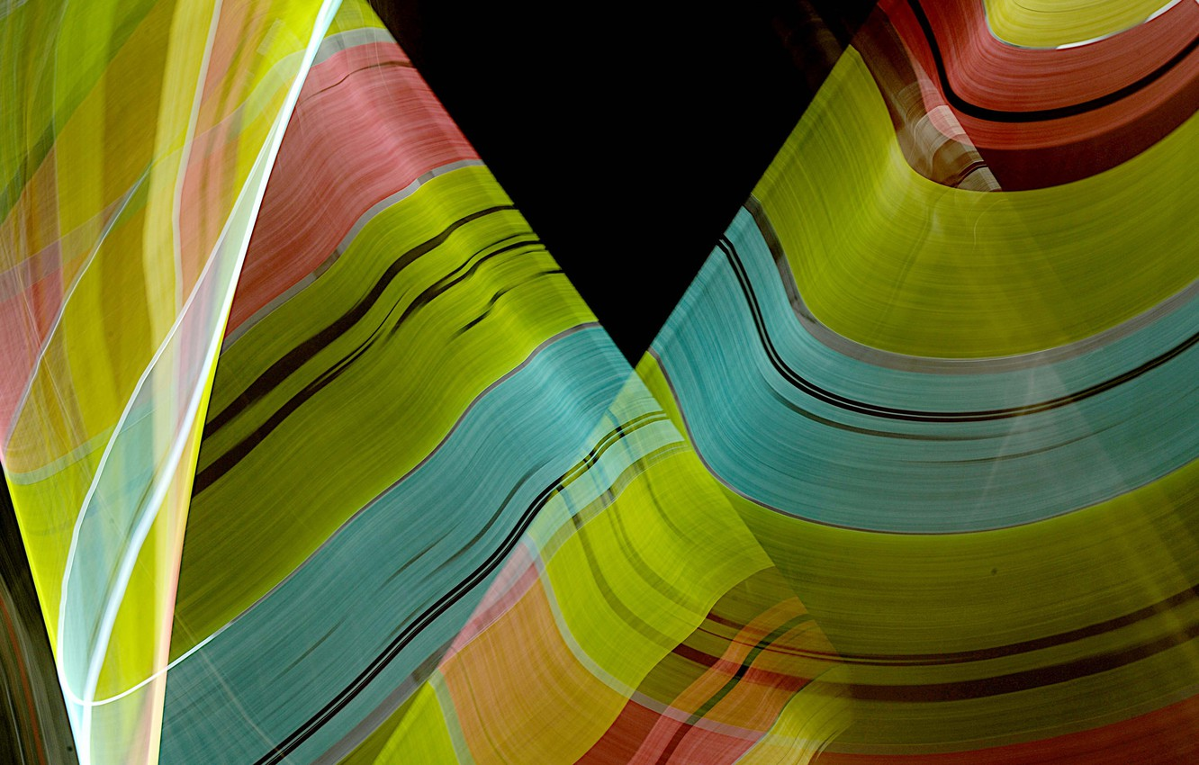 Photo wallpaper wave, rays, line, color, bending