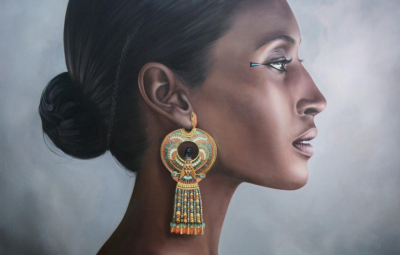 Photo wallpaper woman, portrait, Pharaoh, earring, Egypt, after the death of Hatshepsut, Hatshepsut