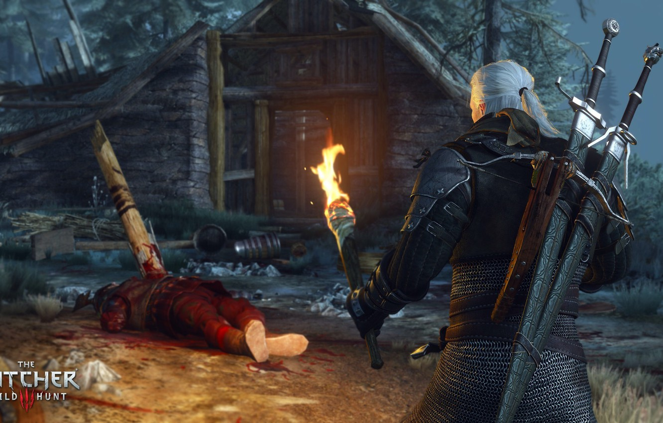 Photo wallpaper torch, swords, the Witcher, the corpse, Geralt, crossbow, The Witcher 3: Wild Hunt, The Witcher ...