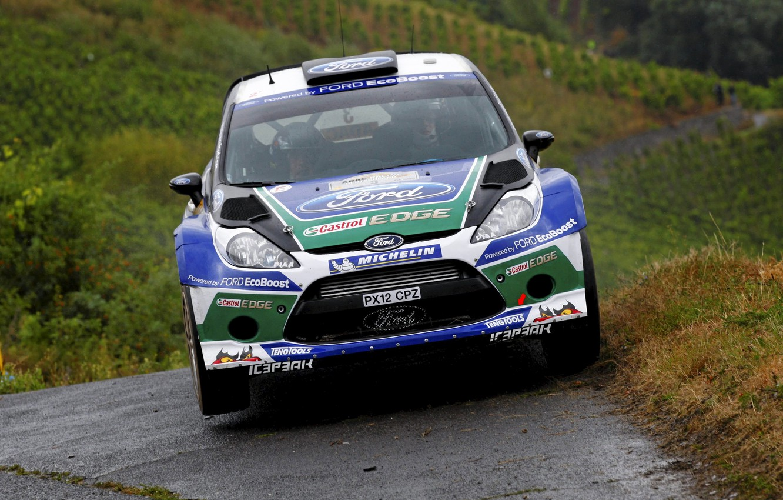 Photo wallpaper Ford, The hood, Lights, WRC, Rally, Fiesta, The front, Jari-Matti Latvala, Miikka Anttila