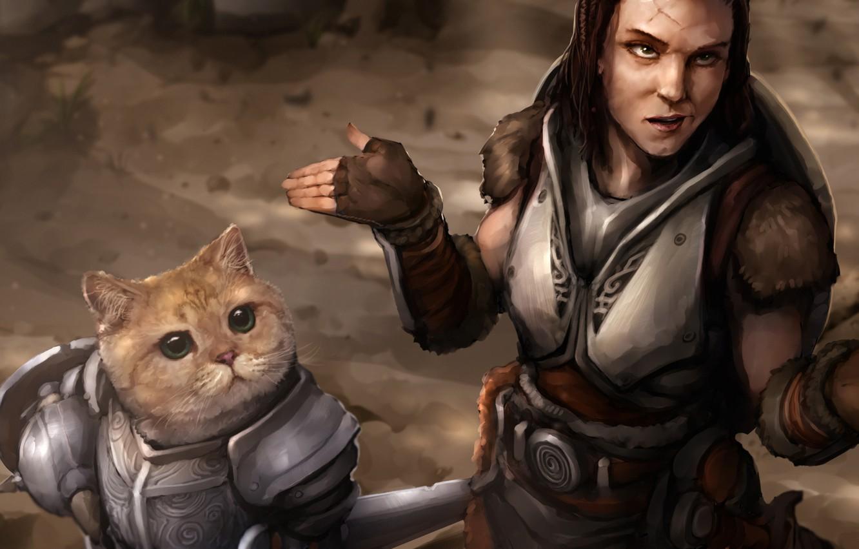Photo wallpaper cat, girl, armor, lydia