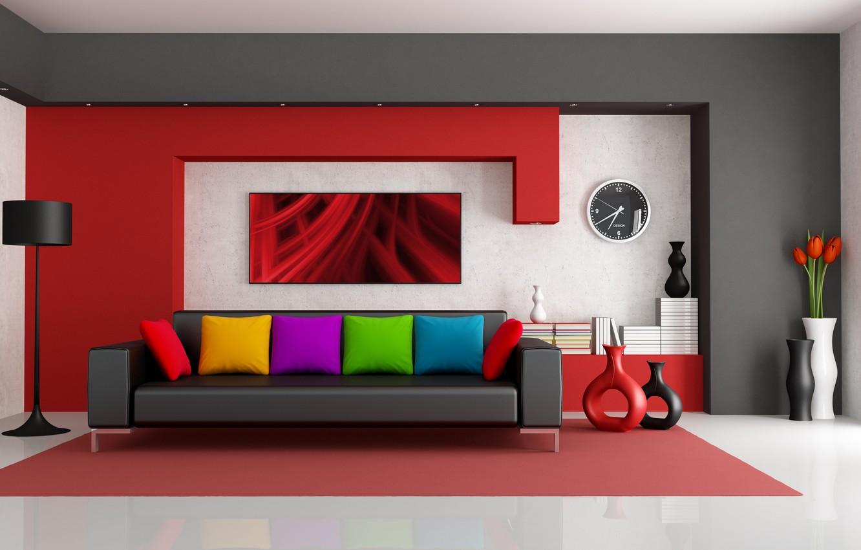 Photo wallpaper flowers, room, sofa, pillow, lamp, modern, vases, folder