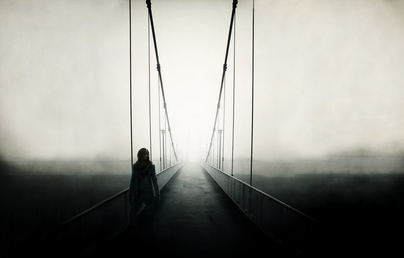 Photo wallpaper road, landscape, bridge, fog, people, mood, the fence, people, view, fence, track, handrails, male, guy, …