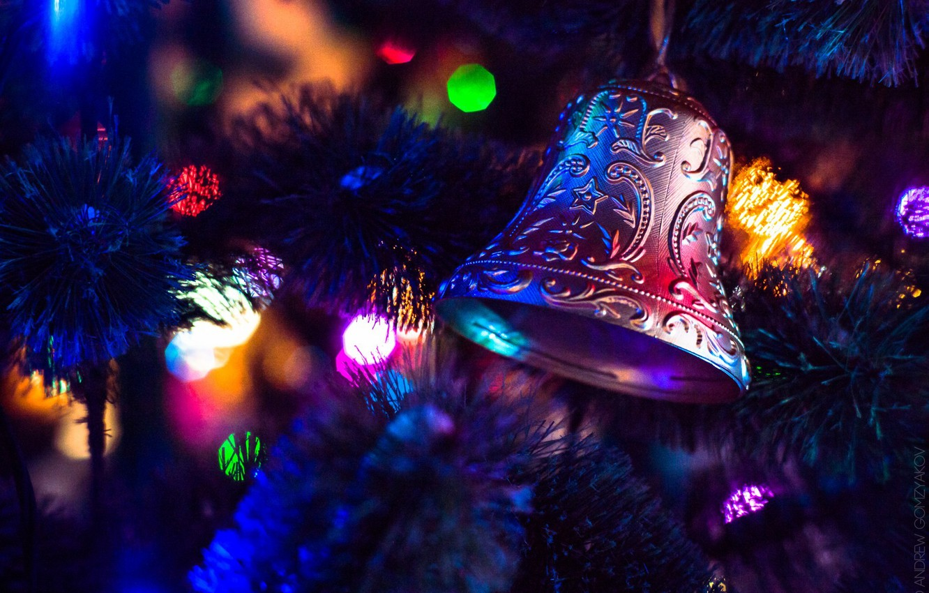Photo wallpaper winter, lights, lights, new year, Christmas, christmas, new year, winter, bell, bell