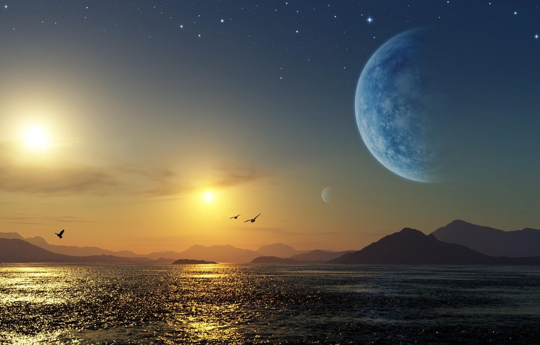 Photo wallpaper sea, planet, Space