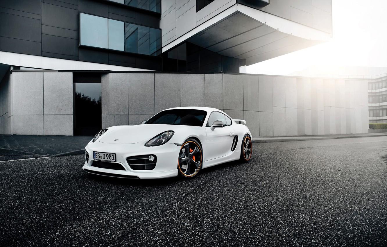 Photo wallpaper white, tuning, Porsche, TechArt, Porsche Cayman
