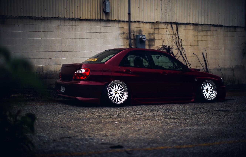 Photo wallpaper Subaru, Impreza, WRX, Red, STI, JDM, Wheels