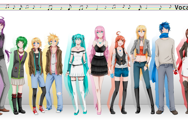 Photo wallpaper notes, girls, art, guys, vocaloid, hatsune miku, scarf, megurine luka, kagamine rin, Vocaloid, the patch, …