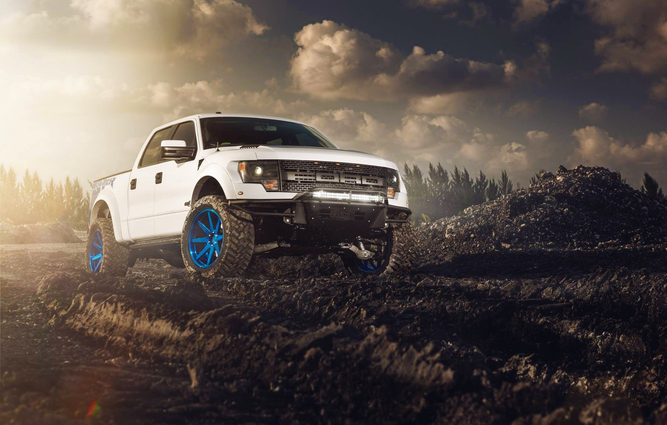 Photo wallpaper Ford, Front, Sun, White, F-150, Wheels, ADV.1, RaptorTrax