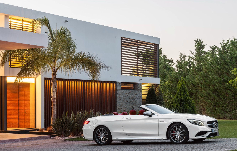 Photo wallpaper house, Palma, Mercedes-Benz, white, convertible, Mercedes, AMG, S 63, S-Class, 2015, A217