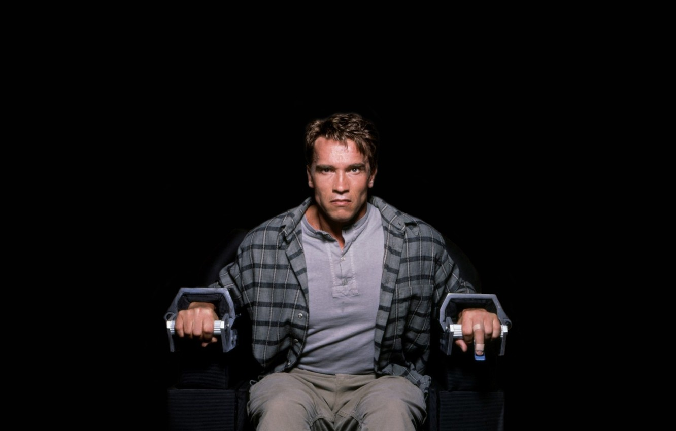 Photo wallpaper chair, evil, shirt, sitting, Arnold Schwarzenegger, Arnold Schwarzenegger, Total Recall, chained, remember all