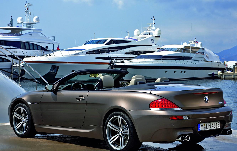 Photo wallpaper Marina, yachts, cabrio, BMW M6, metallic grey, carbolit