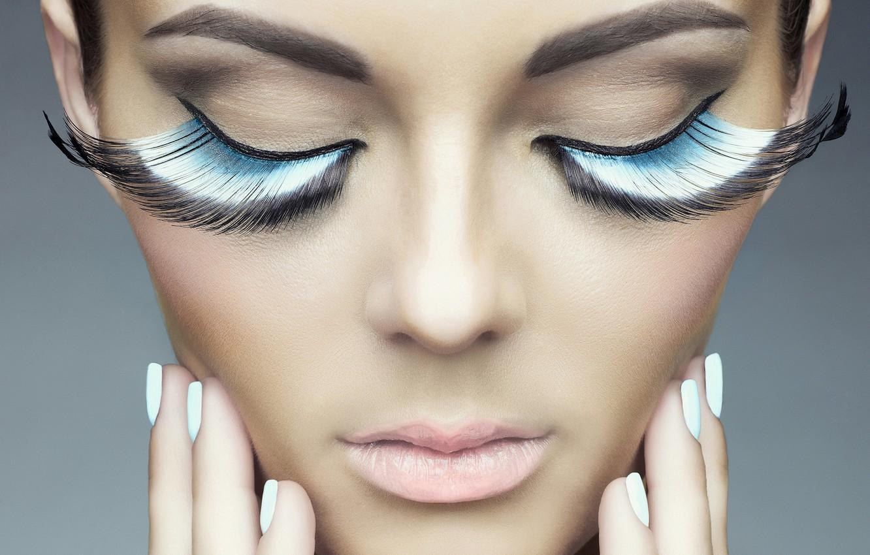 Photo wallpaper girl, face, eyelashes, background, model, hands, lips
