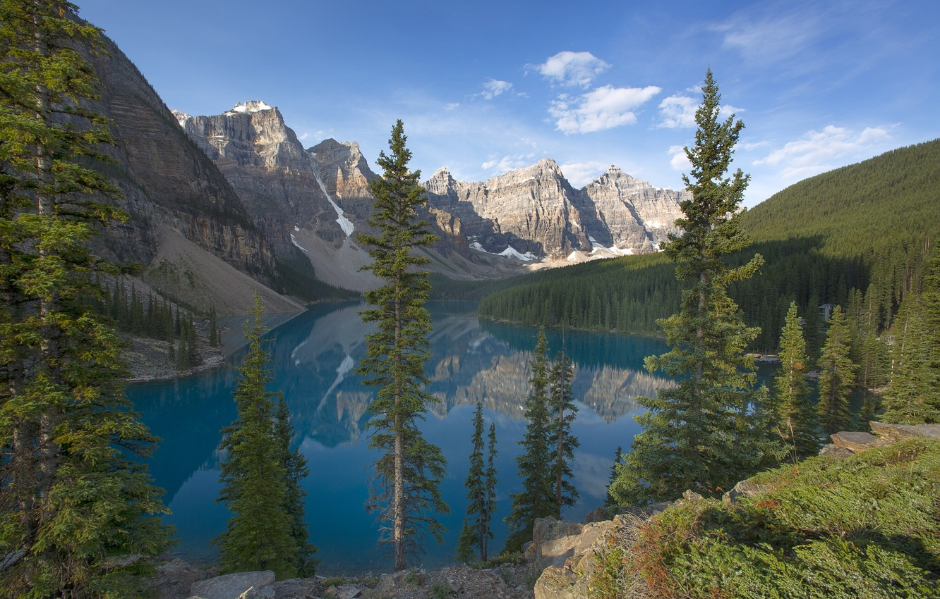 Photo wallpaper forest, trees, mountains, Canada, Banff National Park, Canada, Moraine Lake, Valley of the Ten Peaks, …