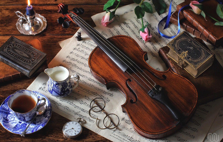 Photo wallpaper notes, tea, violin, watch, books, roses, milk, glasses, still life